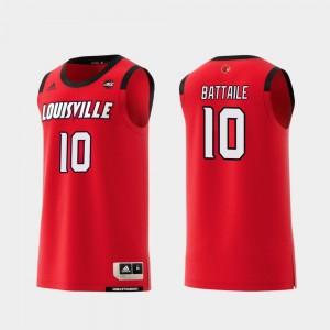 Louisville Cardinals Wyatt Battaile Jersey Red #10 College Basketball For Men's Replica