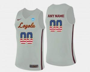 Loyola Ramblers Custom Jerseys US Flag Fashion Mens #00 Basketball White