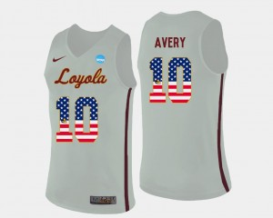 Loyola Ramblers Adarius Avery Jersey US Flag Fashion #10 Basketball White For Men's