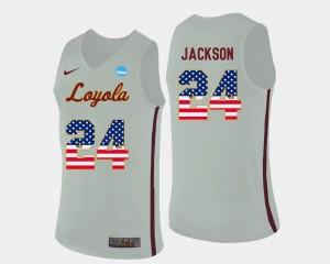 Loyola Ramblers Aundre Jackson Jersey #24 Basketball US Flag Fashion White Men