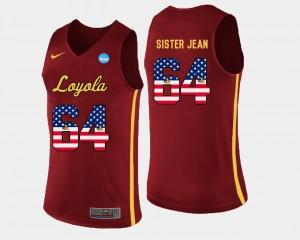 Loyola Ramblers Sister Jean Jersey US Flag Fashion #64 Maroon Mens Basketball