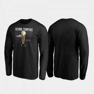 LSU Tigers T-Shirt Trophy Long Sleeve College Football Playoff Black 2019 National Champions Mens