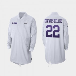 LSU Tigers Clyde Edwards-Helaire Jacket White Full-Zip Sideline 2019 College Football Playoff Bound For Men's #22