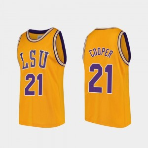 LSU Tigers Courtese Cooper Jersey Gold #21 College Basketball For Men Replica