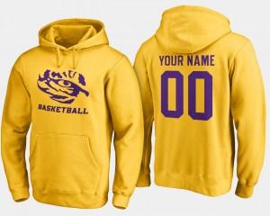 LSU Tigers Custom Hoodie Gold Mens Basketball - #00