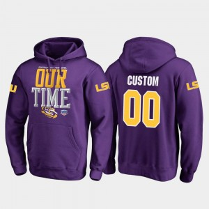 LSU Tigers Customized Hoodie Purple #00 2019 Fiesta Bowl Bound Counter For Men