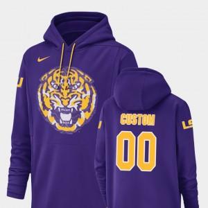 LSU Tigers Customized Hoodies Purple Champ Drive Football Performance #00 Mens