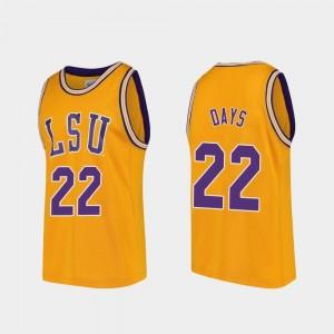LSU Tigers Darius Days Jersey Replica Gold College Basketball For Men #22