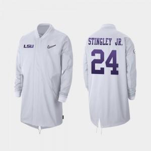 LSU Tigers Derek Stingley Jr. Jacket #24 Full-Zip Sideline White 2019 College Football Playoff Bound Men's