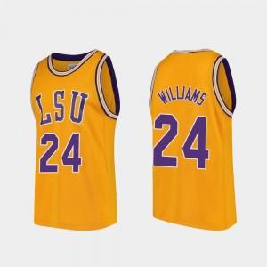 LSU Tigers Emmitt Williams Jersey Men Gold #24 Replica College Basketball
