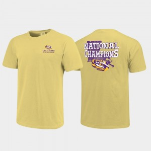 LSU Tigers T-Shirt Gold Field of State Comfort Color 2019 National Champions For Men's