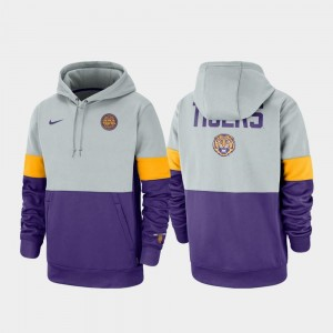 LSU Tigers Hoodie Gray Purple Men's Rivalry Therma Performance Pullover