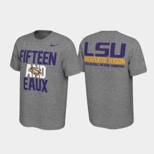 LSU Tigers T-Shirt Mens Heather Gray 2019 National Champions Undefeated College Football Playoff