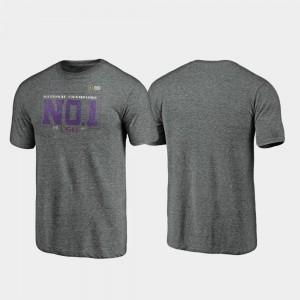 LSU Tigers T-Shirt 2019 National Champions Vintage Tri-Blend College Football Playoff Men Heather Gray