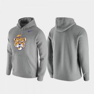 LSU Tigers Hoodie Vintage Logo Heathered Gray Men's Club Fleece