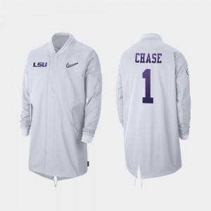 LSU Tigers Ja'Marr Chase Jacket Men #1 White 2019 College Football Playoff Bound Full-Zip Sideline