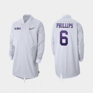 LSU Tigers Jacob Phillips Jacket 2019 College Football Playoff Bound Full-Zip Sideline For Men's White #6