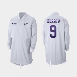 LSU Tigers Joe Burrow Jacket 2019 College Football Playoff Bound #9 White Full-Zip Sideline For Men's