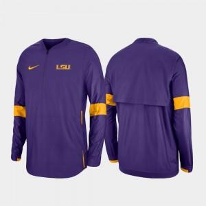 LSU Tigers Jacket Quarter-Zip 2019 Coaches Sideline Purple Mens
