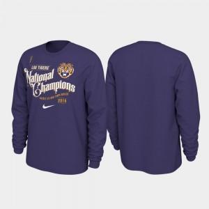 LSU Tigers T-Shirt 2019 National Champions Celebration Long Sleeve College Football Playoff Men Purple