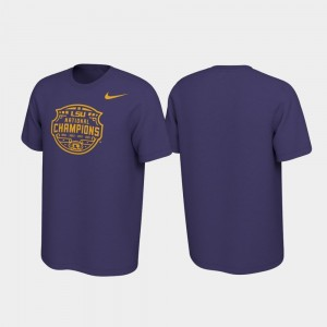 LSU Tigers T-Shirt 2019 National Champions Men Purple Celebration Official Logo College Football Playoff