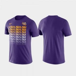LSU Tigers T-Shirt Purple For Men's Performance Fade