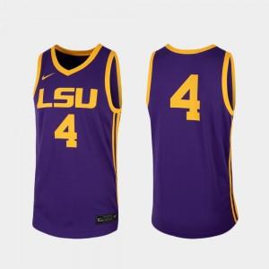 LSU Tigers Jersey For Men's Purple College Basketball Replica #4