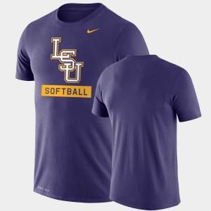 LSU Tigers T-Shirt Drop Legend Purple Performance Softball For Men