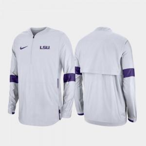 LSU Tigers Jacket Quarter-Zip White 2019 Coaches Sideline Men's