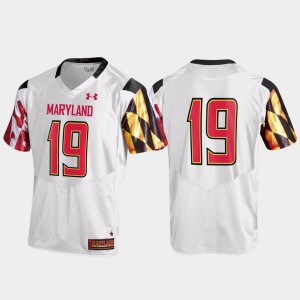 Maryland Terrapins Jersey Replica White Men's #19 College Football