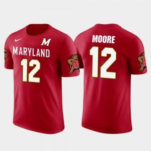 Maryland Terrapins D.J. Moore T-Shirt Carolina Panthers Football #12 For Men Future Stars Red