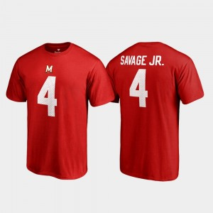 Maryland Terrapins Darnell Savage Jr. T-Shirt #4 Red College Legends Name & Number Mens