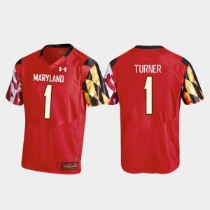 Maryland Terrapins DJ Turner Jersey College Football Red Men #1 Replica