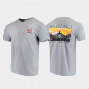 Maryland Terrapins T-Shirt Mens Gray Comfort Colors Campus Scenery