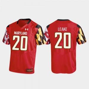 Maryland Terrapins Javon Leake Jersey #20 College Football Men's Red Replica