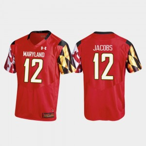 Maryland Terrapins Taivon Jacobs Jersey College Football Mens Red #12 Replica