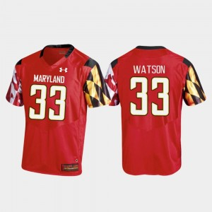Maryland Terrapins Tre Watson Jersey College Football Red Replica #33 For Men