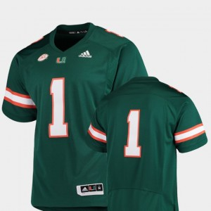 Miami Hurricanes Jersey Green #1 College Football Men's Premier