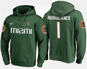 Miami Hurricanes Hoodie No.1 Mens #1 Green