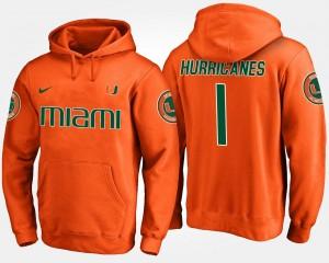Miami Hurricanes Hoodie Mens Orange #1 No.1