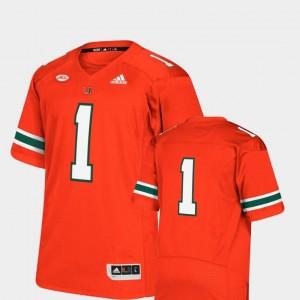 Miami Hurricanes Jersey Premier Mens #1 College Football Orange