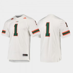 Miami Hurricanes Jersey Premier White Football Men #1