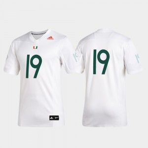 Miami Hurricanes Jersey White Mens Premier Football 2019 Special Game #19