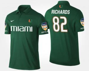 Miami Hurricanes Ahmmon Richards Polo Bowl Game #82 Orange Bowl For Men's Green
