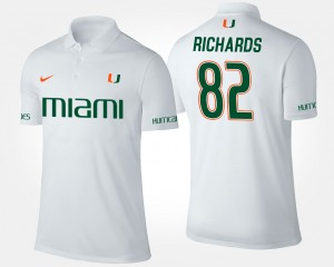 Miami Hurricanes Ahmmon Richards Polo White Men #82