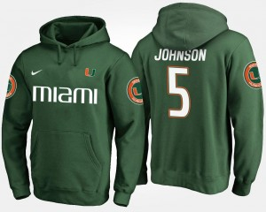 Miami Hurricanes Andre Johnson Hoodie Green Men's #5