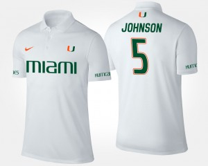 Miami Hurricanes Andre Johnson Polo Mens White #5