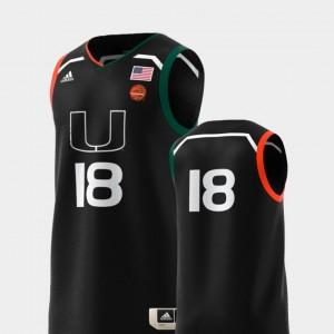 Miami Hurricanes Jersey #18 Black College Replica Basketball Swingman Mens