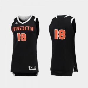 Miami Hurricanes Jersey #18 Men College Basketball Chase Black White