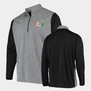 Miami Hurricanes Jacket Charcoal College UPF Quarter-Zip For Men's